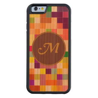 Colorful Pixelate Monogram Carved Cherry iPhone 6 Bumper Case