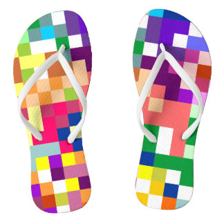 Colorful Pixelate with White Straps Flip Flops