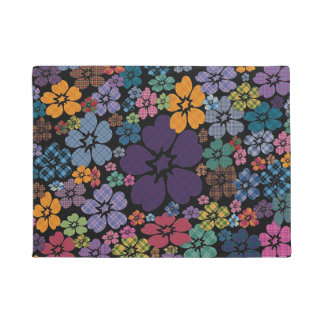 Colorful Plaid Flowers Doormat