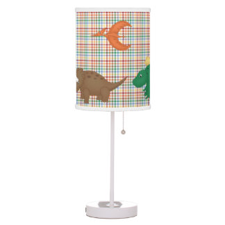 Colorful Plaid with Cute Dinosaurs Table Lamp