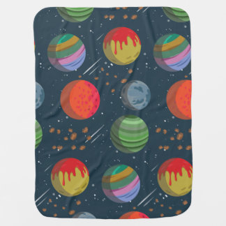 Colorful Planets in Outer Space Baby Blanket