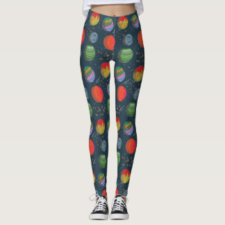 Colorful Planets in Outer Space Leggings