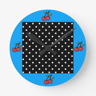 COLORFUL POKE DOT AND CHERRY VINTAGE WALL CLOCK
