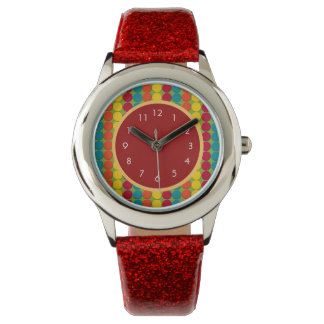 Colorful Polka Dot and Striped Child's Watch