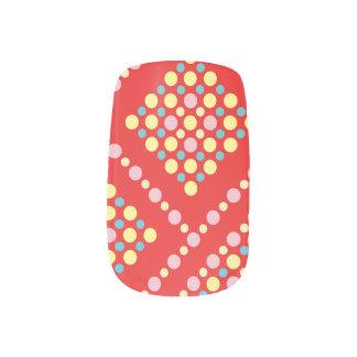 Colorful Polka Dot Candy Pop Grid Minx Nail Art