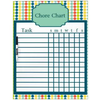 Colorful Polka Dot Chore Chart Dry Erase Board