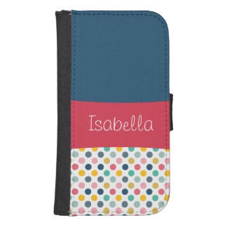 Colorful Polka Dot Customizable Pattern Samsung S4 Wallet Case