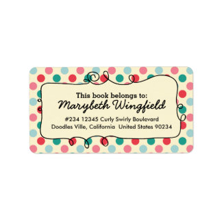 Colorful Polka Dot Gumballs Personalized Girly Label