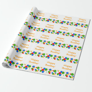 Colorful Polka Dot Happy Birthday Wrapping Papper