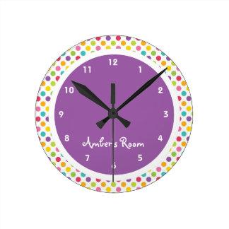Colorful Polka Dot Kid's Bedroom Round Clock