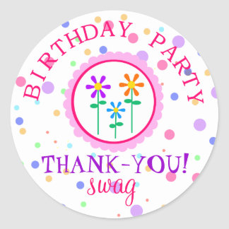 Colorful Polka Dots and Flowers-Birthday Round Sticker