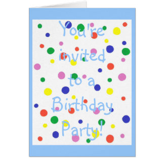 Colorful Polka Dots Birthday Party Invitation Card