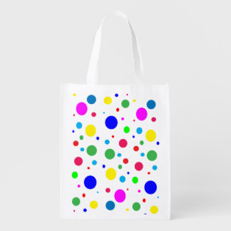 Colorful Polka Dots Bubbles Balloons Reusable Grocery Bag