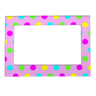 Colorful Polka Dots - Girly Picture Magnetic Frame