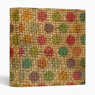 Colorful Polka Dots Grunge Fabric Burlap Texture 3 Ring Binder
