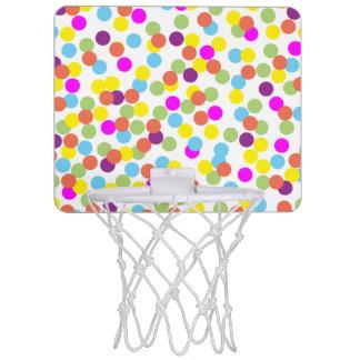 Colorful Polka-Dots on a White Background Mini Basketball Hoop