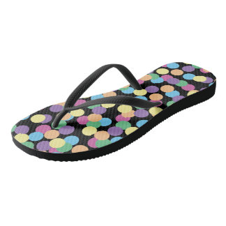 Colorful Polka-Dots on Black Flip Flops