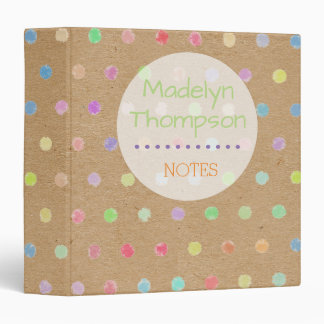 Colorful Polka Dots On Faux Kraft Paper Background 3 Ring Binders