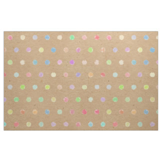 Colorful Polka Dots On Faux Kraft Paper Background Fabric
