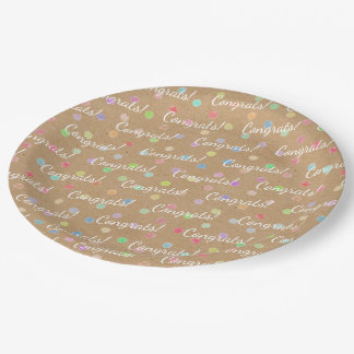 Colorful Polka Dots On Faux Kraft Paper Background Paper Plate