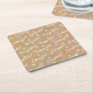 Colorful Polka Dots On Faux Kraft Paper Background Square Paper Coaster