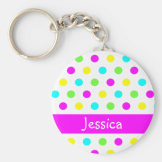 Colorful Polka Dots - Personalized Name Keychain