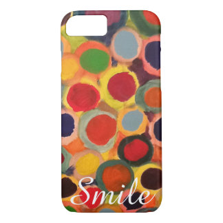 """Colorful Polka Dots, """"Smile"""" Cute iPhone 7 case"""