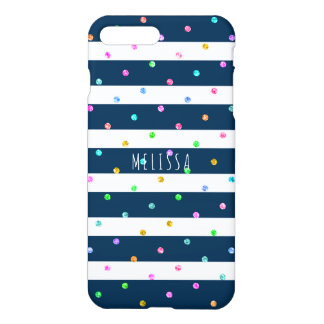 Colorful Polkadots With Blue & White Stripes iPhone 8 Plus/7 Plus Case