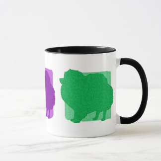 Colorful Pomeranian Silhouettes Mug