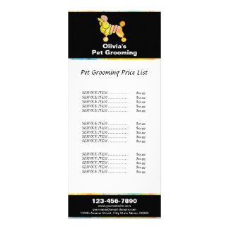 Colorful Poodle Pet Grooming Price List Personalized Rack Card
