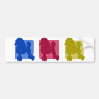 Colorful Poodle Silhouettes Bumper Sticker