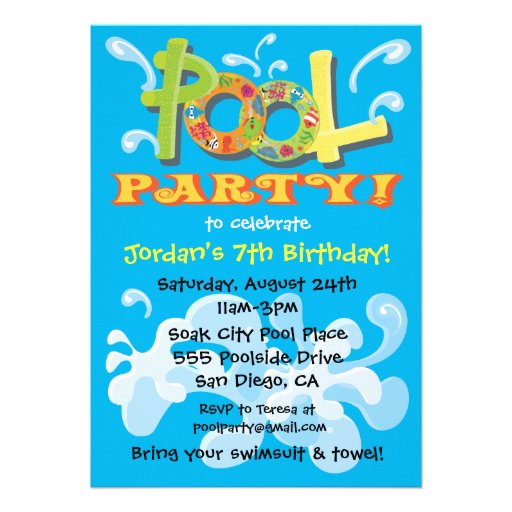 pool party invitation template free .