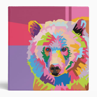 Colorful Pop Art Bear Portrait 3 Ring Binders