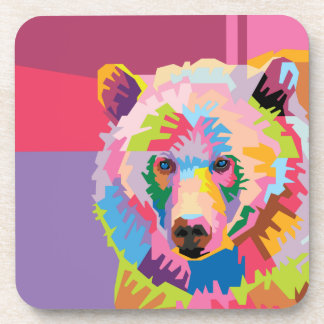 Colorful Pop Art Bear Portrait Coaster