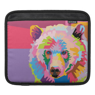 Colorful Pop Art Bear Portrait iPad Sleeve