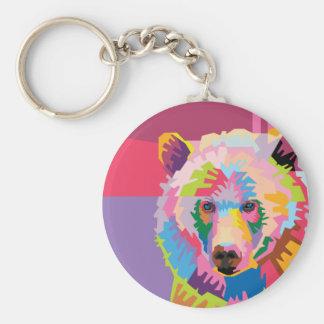 Colorful Pop Art Bear Portrait Keychain