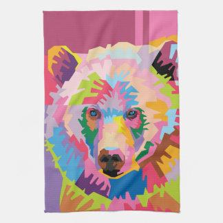 Colorful Pop Art Bear Portrait Kitchen Towel