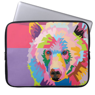 Colorful Pop Art Bear Portrait Laptop Sleeve