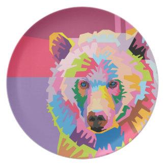 Colorful Pop Art Bear Portrait Plate