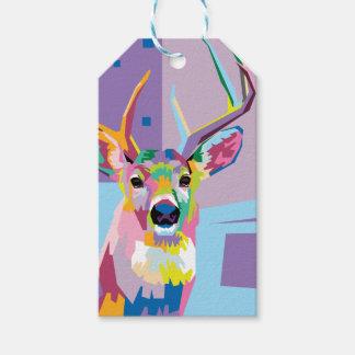 Colorful Pop Art Deer Portrait Gift Tags