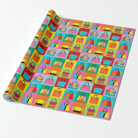 Colorful pop art feminine bags wrapping paper
