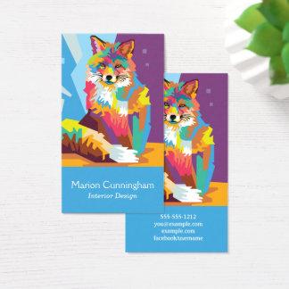 Colorful Pop Art Fox Portrait Business Card