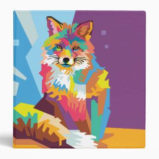 Colorful Pop Art Fox Portrait Vinyl Binders