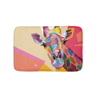 Colorful Pop Art Giraffe Portrait Bath Mat