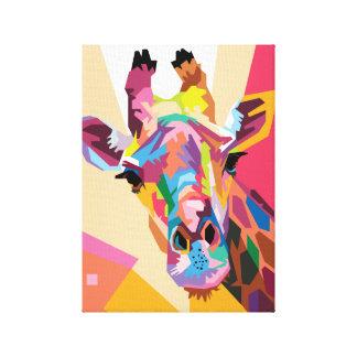 Colorful Pop Art Giraffe Portrait Canvas Print