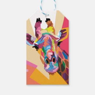 Colorful Pop Art Giraffe Portrait Gift Tags