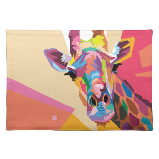 Colorful Pop Art Giraffe Portrait Placemat