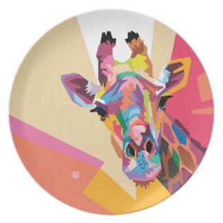 Colorful Pop Art Giraffe Portrait Plate
