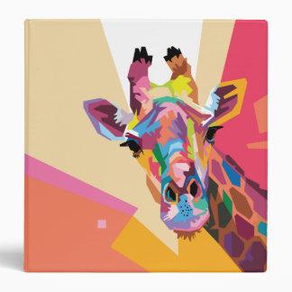 Colorful Pop Art Giraffe Portrait Vinyl Binder