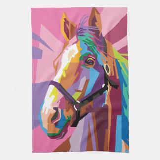 Colorful Pop Art Horse Portrait Kitchen Towels